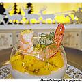 Panna cotta salee aux crevettes et des de mangue