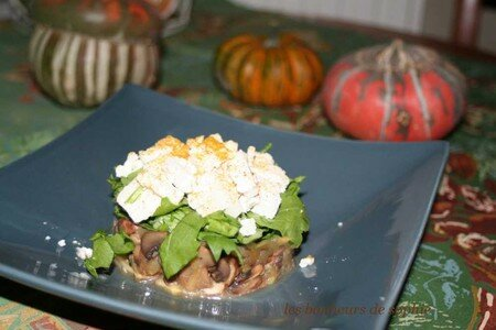timbale_champi_pomme_roquette_feta