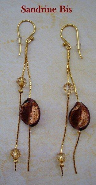 Chaine et perles Murano marron