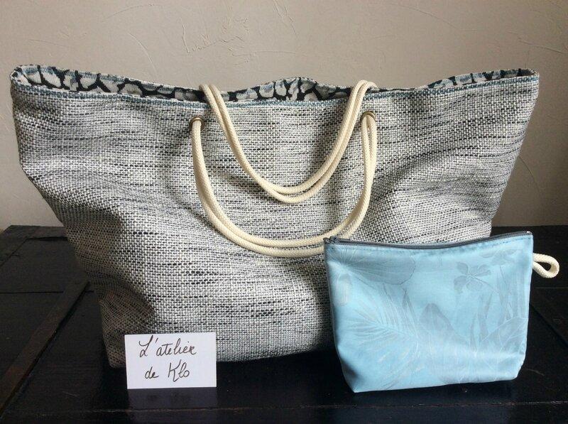 sac cabas elegant en coton de style lin effet bord de mer gris noir et bleu (2)
