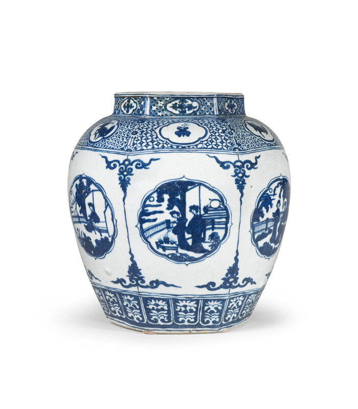 A large blue and white 'ladies in garden' jar, guan, 16th century