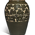 A large sgraffiato brown-glazed 'Cizhou' jar, Yuan dynasty (1279-1368)