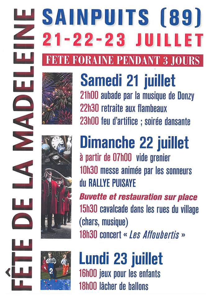 Fête de la Madeleine à Sainpuits du 21 au 23 Juillet ....