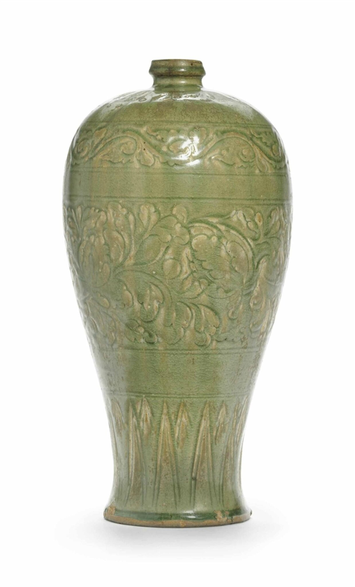 A rare Yaozhou celadon vase, meiping, Jin dynasty (1115-1234)