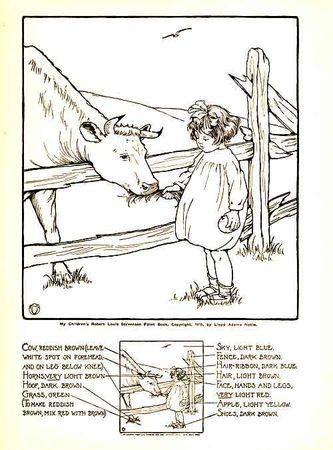 vache_cow_paint_book_my_childrens_robert_louis_stevenson_llyod_adams_noble_1915