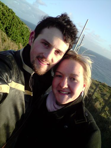 Julie and I in front of the Lighthouse