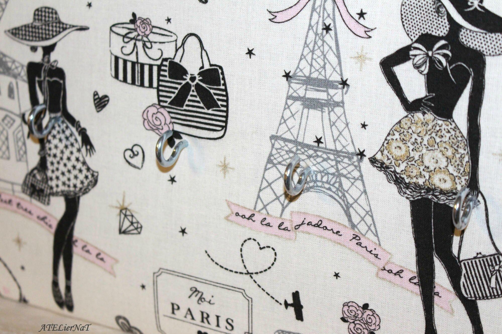 Porte-clé Paris blanc noir rose ruban noir7