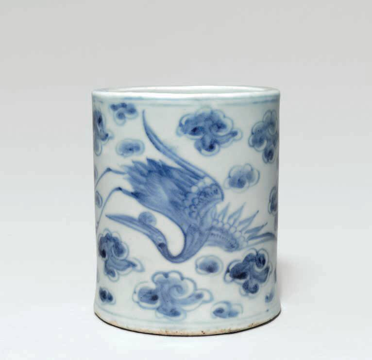 A blue and white brush holder, Joseon Dynasty, (19th century)