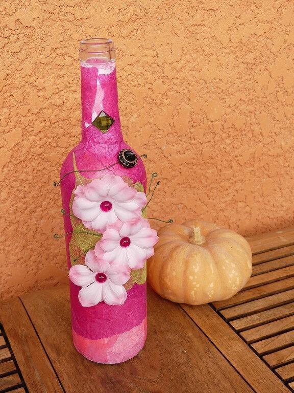 Bouteille altérée rose - Pink altered bottle