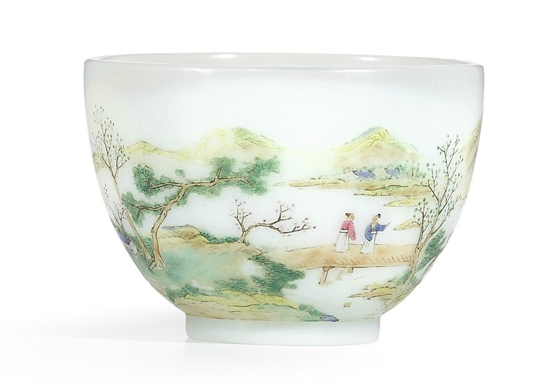 A rare enamelled'figures and landscape' glass cup, blue enamel mark and period of Qianlong (1736-1795)