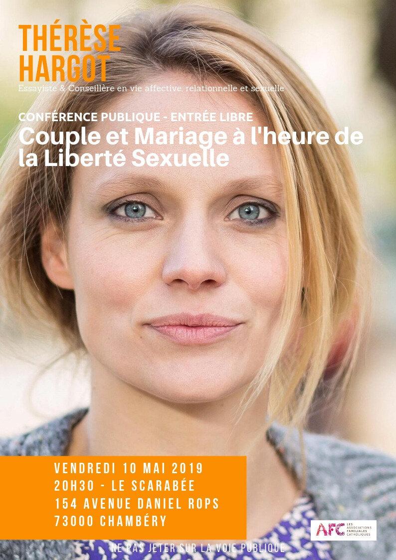 Une conférence de Thérèse Hargot sur le thème : « Couple et mariage à l'heure de la liberté sexuelle ».