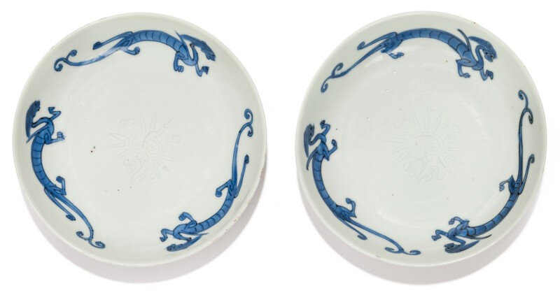 A rare pair of blue and white saucer dishes, four character Longqing marks and period (1567-1572)