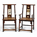 A very rare pair of dali-marble-inset huanghuali armchairs, guanmaoyi, qing dynasty, 17th-18th century
