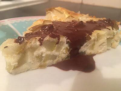 Quiche sans pâte Poires sauce chocolat légère