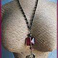 collier rose et bronze (Cc62)