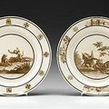 Pair of sevres creamware plates, early 19th century