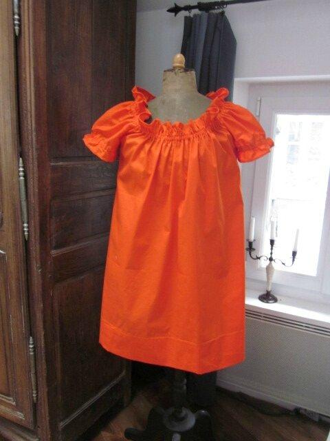 Robe Albane en coton orange (2)