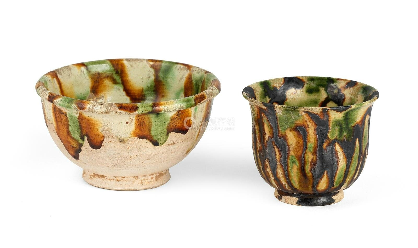 A sancai-glazed bowl and a cup, Tang Dynasty