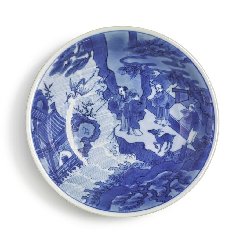 A blue and white 'Immortals' dish, Kangxi mark and period (1662-1722)