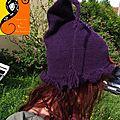Bonnet tricot sorcière violet 1