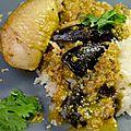 Poulet et aubergines en sauce cacahuètes et sésame