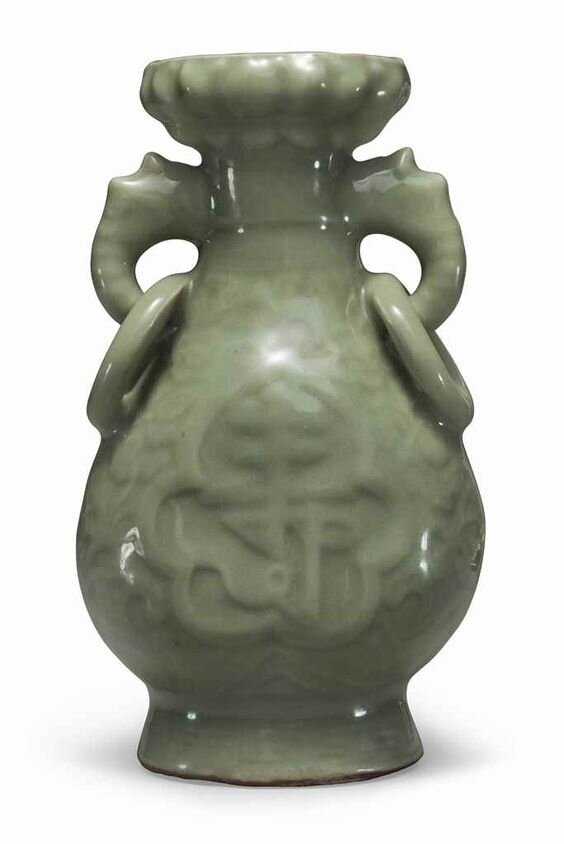 A Longquan celadon ring-handled vase, Yuan-early Ming dynasty, 14th century