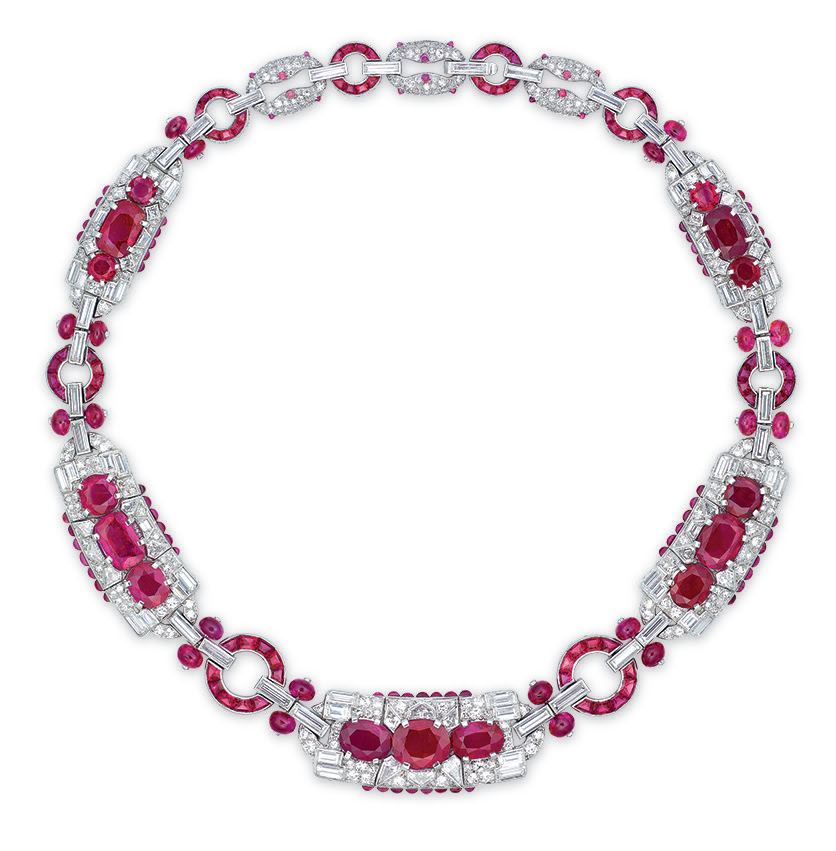 A Highly Important Art Deco Ruby And Diamond Necklace By
