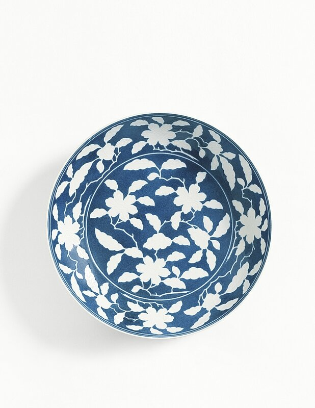A reverse-decorated powder-blue dish, mark and period of Yongzheng (1723-1735)