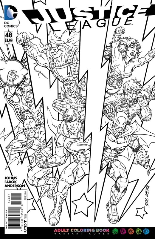 new 52 justice league 48 adult coloring variant