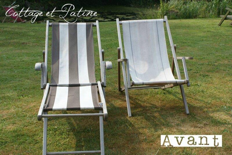 Cottage et Patine refection tissu chaises longues AVANT