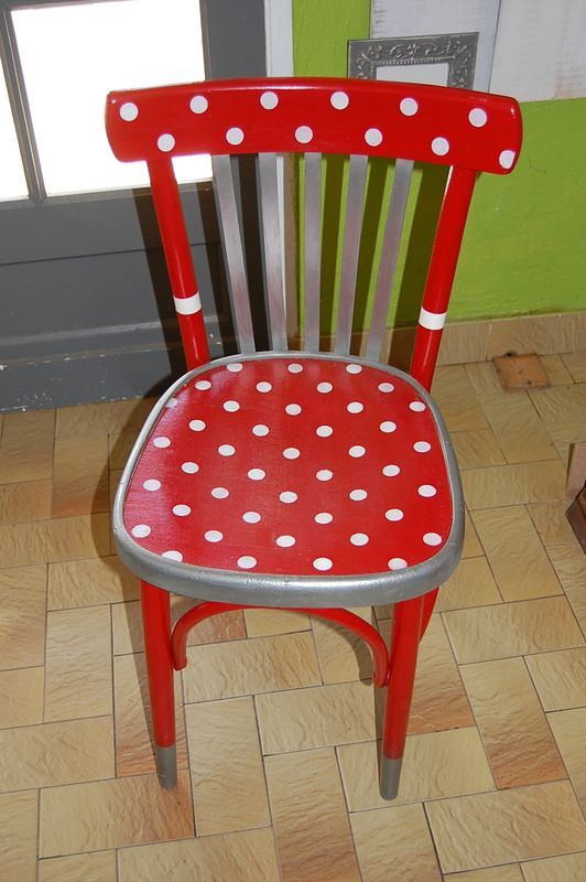 Chaise Bistrot Relookee Bazz Art Creation