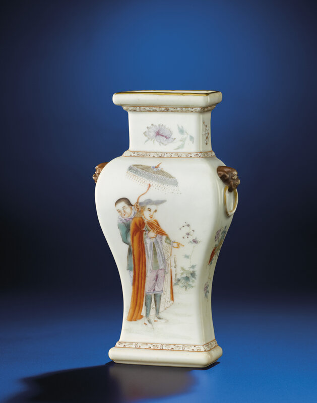 A famille rose 'European figures' wall vase, Qianlong six-character seal mark in iron red and of the period (1736-1795)