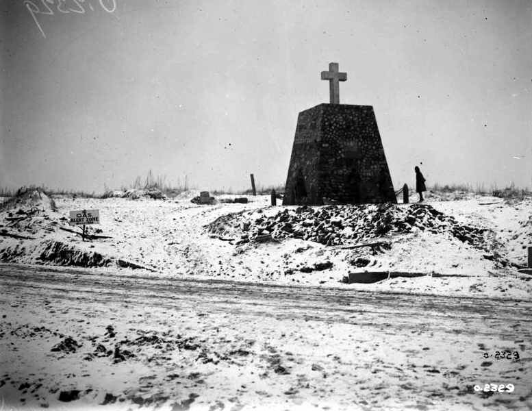 Monument erected to Canadian Artillery-men during Vimy Battle at Les Tilleuls crossroads