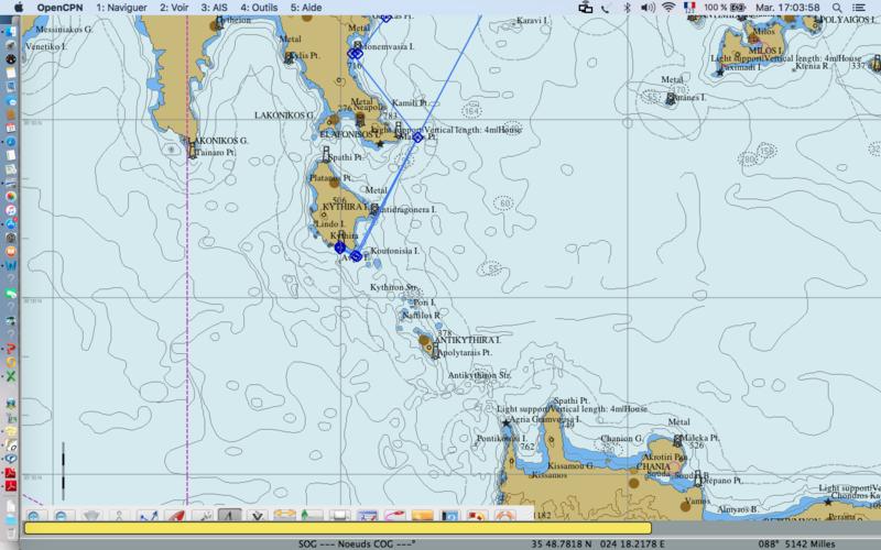 Carte OpenCPN de Lavrio à Kythira 1