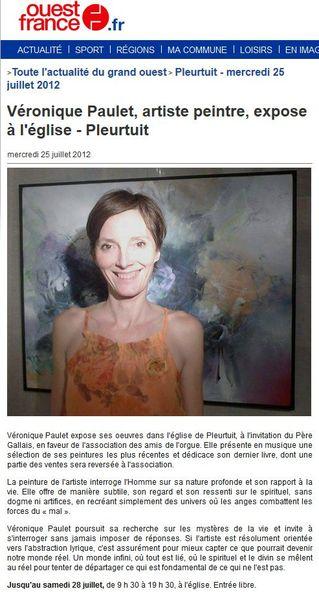 article ouest france juillet 2012 expo pleurtuit