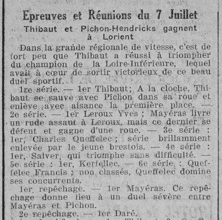 1923 le 14 juillet L'Ouest en plein air cyclisme Kerfelec et Charles Queffelec_2
