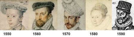 Evolution de la toque 1550-1600